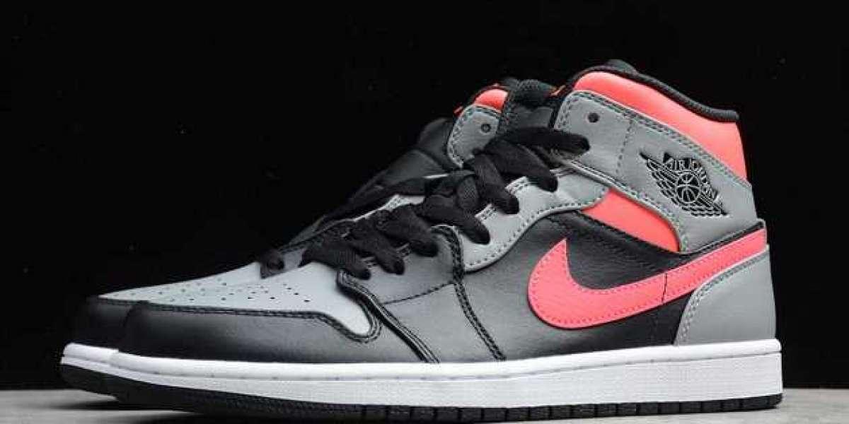 "Air Jordan 1 Mid ""Pink Shadow"" 554724-059 2020 Basketball Sneakers For Sale"