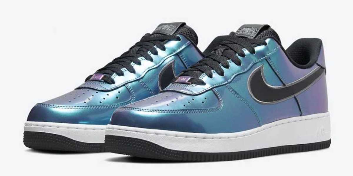 """Rainbow holographic material! The new Nike Air Force 1 Low """"Iridescent"""" DQ6037-001 is shocking!"""